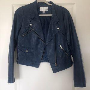 Bar III blue leather jacket - size M